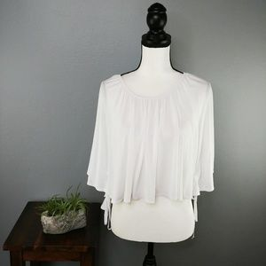 UO Kimchi Blue   white cape top with ties